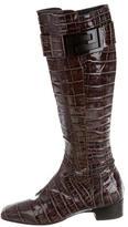Versace Logo-Embellished Knee-High Boots