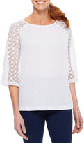 Sag Harbor Lace And Stripes 3/4 Sleeve Crew Neck T-Shirt