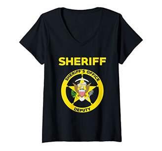 Womens Sheriff's Office Deputy Uniform LEO Off Duty Cops Law V-Neck T-Shirt