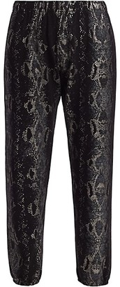 Monrow Foil Snake Print Cropped Joggers