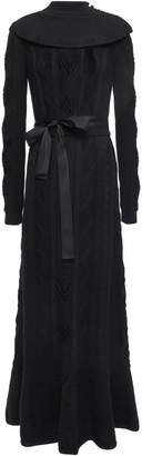 RED Valentino Grosgrain-trimmed Pointelle-knit Wool Maxi Dress