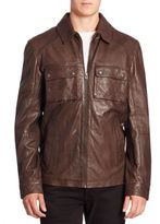 Cole Haan Leather Zip-Up Jacket
