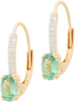 14K Gold Plated Exotic Gemstone Earrings, 0.75 cttw