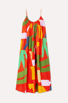 Mara Hoffman + Net Sustain Fiona Printed Organic Linen Maxi Dress - Orange