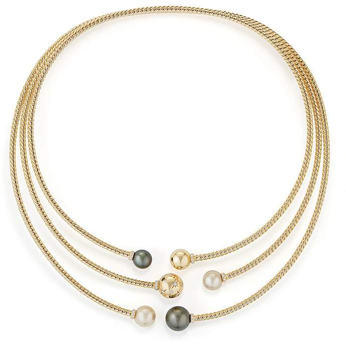 David Yurman Solari Three-Row Necklace with Cultured South Sea White Pearl, Cultured Tahitian Gray Pearl & Diamonds in 18K Gold