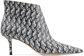 Jimmy Choo MARINDA 65 Metallic Silver and Black JC Monogram Print Glitter Fabric Point-Toe Kitten Heel Boots