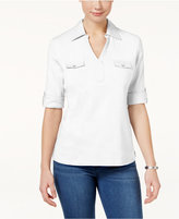 Karen Scott Cotton Utility Polo Top, Created for Macy's
