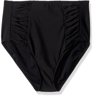 Penbrooke Women's Solid Bottom High Waist Shirred Insert Pant