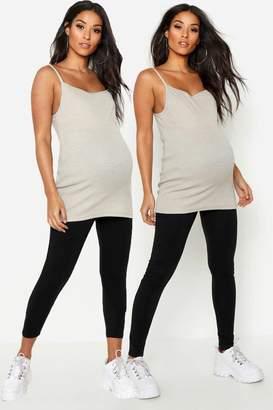 boohoo Maternity 2 Pack Full Length & 3/4 Length Legging