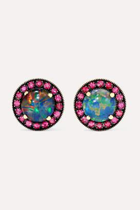 Andrea Fohrman 18-karat Rose Gold, Opal And Ruby Earrings