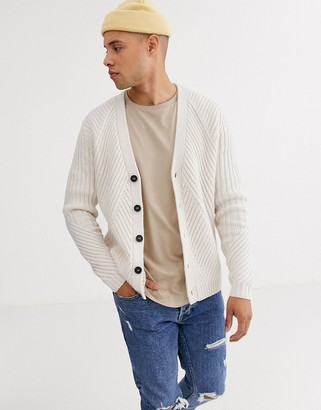 Asos Design DESIGN knitted cardigan with travelling rib in oatmeal-Cream