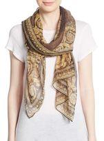 Versace Leopard Baroque-Print Silk Scarf