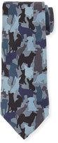 Etro Silk Dog Camo-Print Tie, Blue Multi