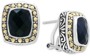 Effy Eclipse by Onyx (10 x 8mm) Stud Earrings in Sterling Silver & 18k Gold