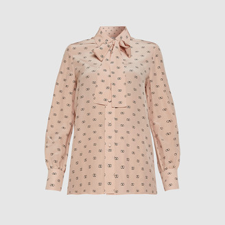 Valentino Pink V-Logo Printed Pussy Bow Silk Blouse Size IT 40
