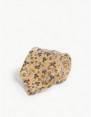 Eton Floral print silk and linen-blend tie