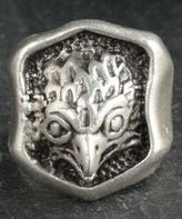 Nautilus Silvertone Eagle Face Adjustable Ring