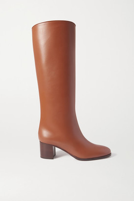 Loro Piana Paris Leather Knee Boots - Tan