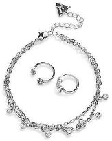GUESS Women's Silver-Tone and Rhinestone Anklet and Toe Ring Set