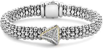 Lagos KSL Lux Diamond Silver & 18k Gold Pyramid Bracelet