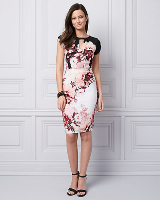 Le Château Floral Print Knit Cutout Cocktail Dress