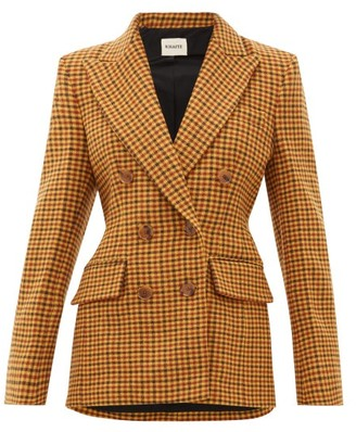 KHAITE Darla Double-breasted Wool-gingham Blazer - Womens - Brown Multi