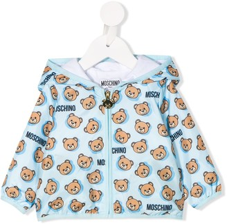 Moschino Kids hooded teddy print jacket