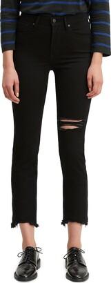 Levi's Ripped High Rise Straight Leg Crop Raw Hem Jeans