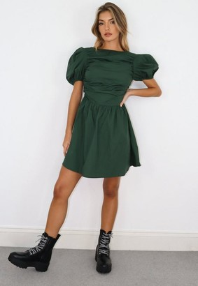 Missguided Green Cotton Poplin Puff Sleeve Skater Dress