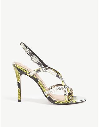 Ted Baker Theanaa snakeskin-embossed leather heeled sandals