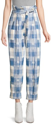 Robert Rodriguez Hollie Plaid Tie-Waist Trousers