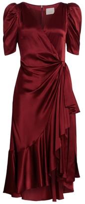 Cinq à Sept Lisa Silk Ruffle Wrap Dress
