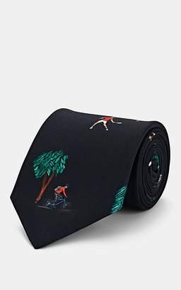 Paul Smith Men's Tropical-Print Silk Necktie - Black