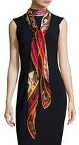 Givenchy Silk Chiffon Wheel Scarf, Black/Multicolor