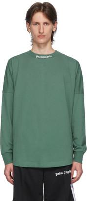 Palm Angels Green Classic Logo Long Sleeve T-Shirt