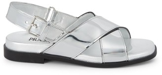 Prada Crisscross Metallic Leather Slingback Sandals