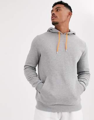 Asos Design DESIGN hoodie in grey marl with neon orange drawcords
