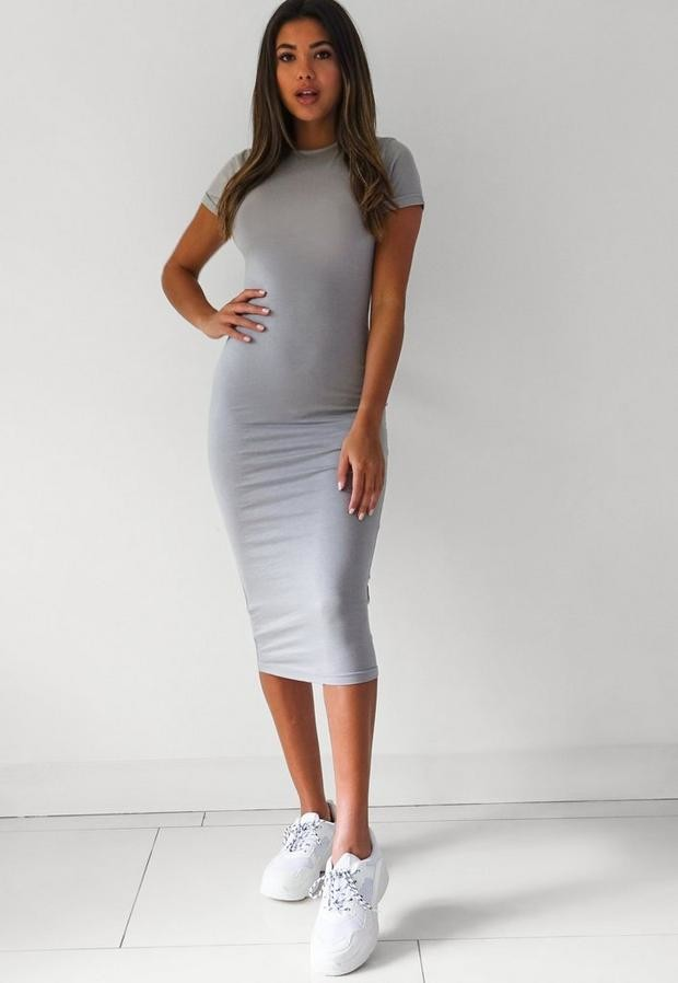 Missguided Light Gray Short Sleeve Midi Dress