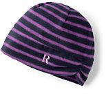 Lands' End Women's 100 Fleece Pattern Hat-Classic Navy Stripe