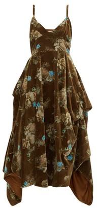 Preen by Thornton Bregazzi Ibbie Floral-print Velvet Dress - Womens - Brown Multi