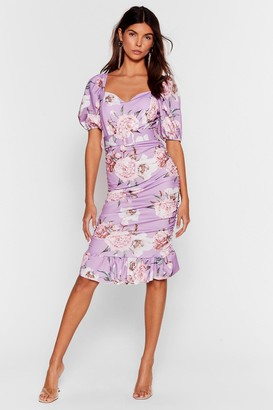 Nasty Gal Womens Stalk This Way Floral Midi Dress - Lilac
