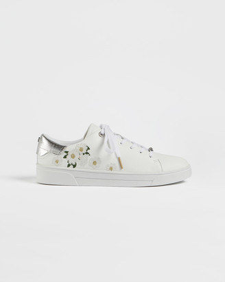 Ted Baker ADIA Elderflower embroidered leather trainers