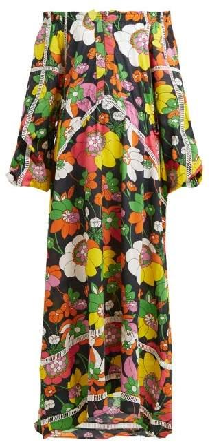 Dodo Bar Or Ida Dress.Myra Off Shoulder Floral Print Cotton Poplin Dress Womens Black Print