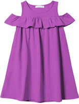 Basics By Sunshine Swing Basics by Sunshine Swing Girls' Casual Dresses - Purple Ruffle-Trim Cold-Shoulder Dress - Toddler & Girls