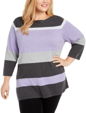 Karen Scott Plus Size Striped Ballet Neck Cotton Sweater, Created for Macy's