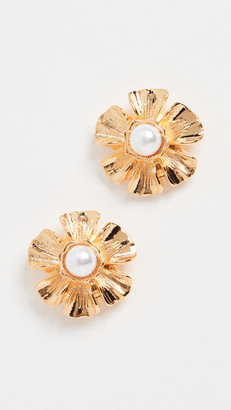 Kenneth Jay Lane Pearl Center Flower Earrings