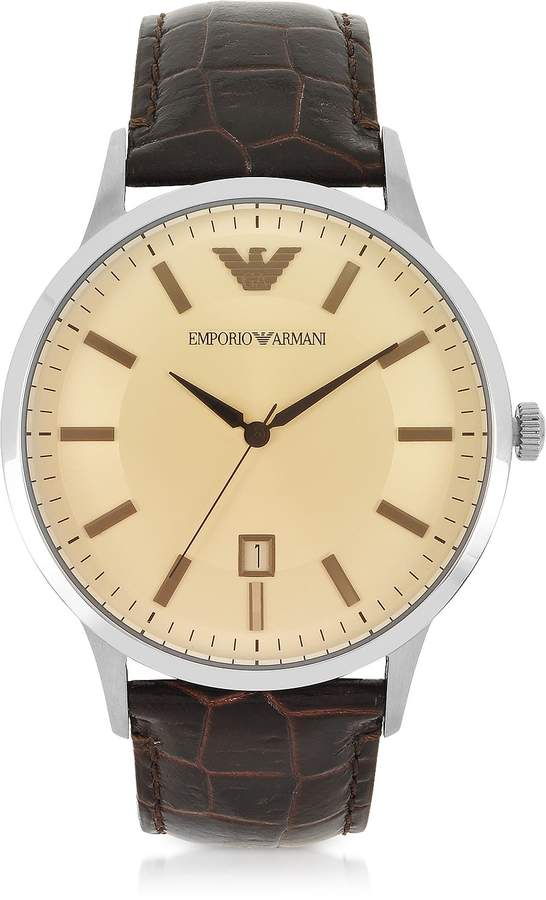 Emporio Armani Stainless Steel Men's Watch W/embossed Leather Strap