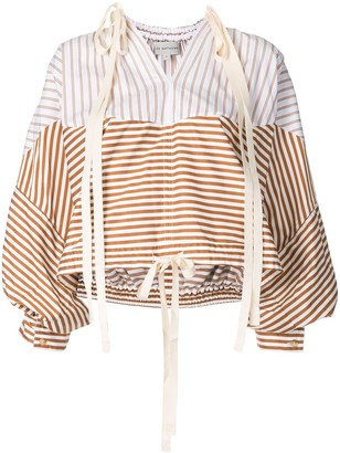 Lee Mathews Jamie spliced stripe blouse