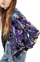 Topshop Women's Ariel Sequin Velvet Bomber Jacket
