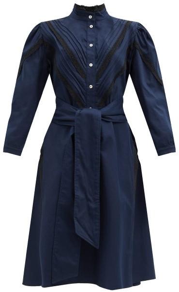 ÀCHEVAL PAMPA Yegua Cotton-blend Crepe Shirt Dress - Navy